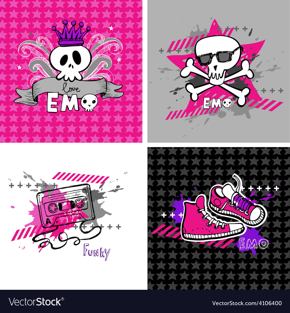 Emo banners suitable for t-shirt print vector | Price: 1 Credit (USD $1)
