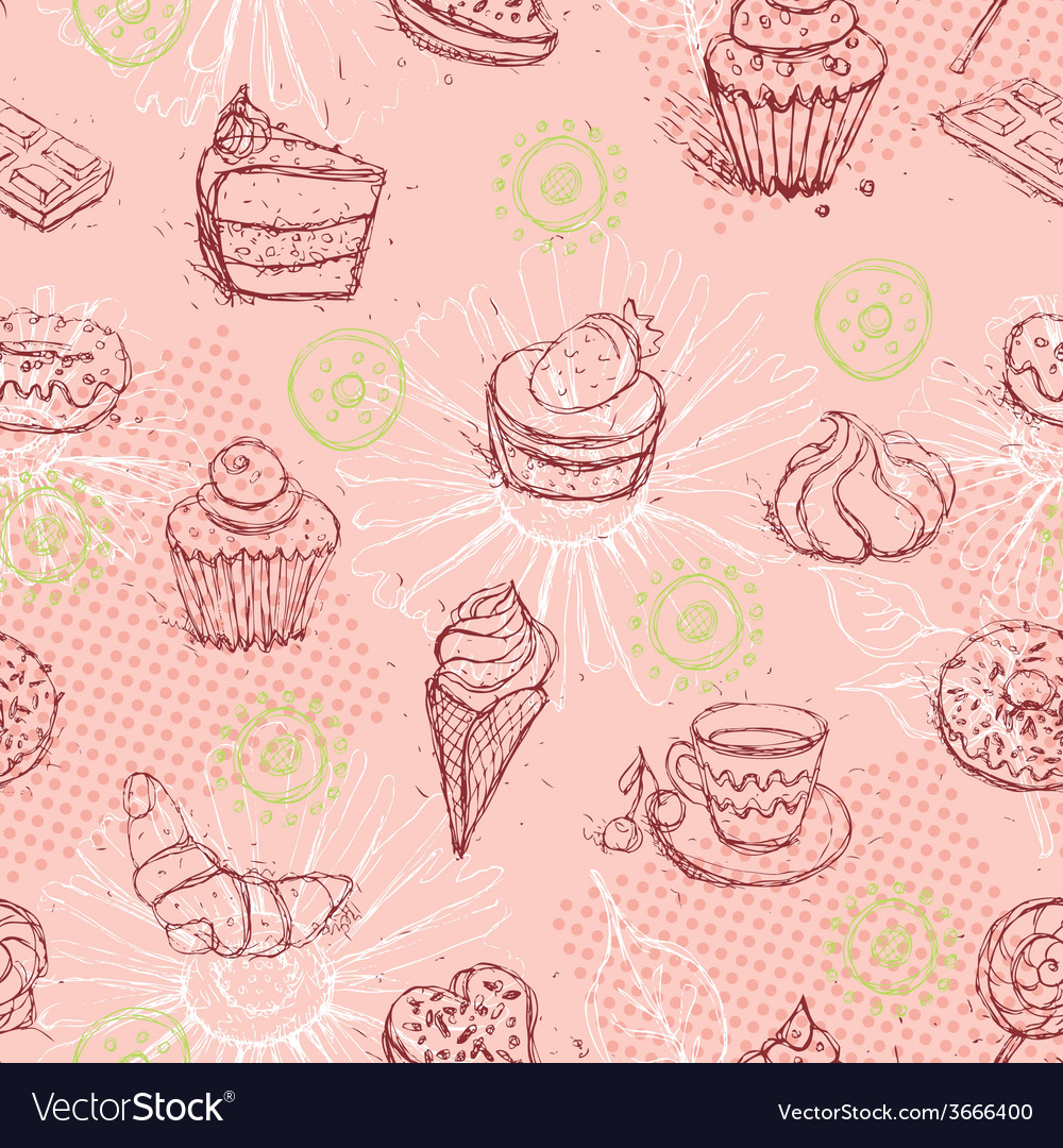 Funny seamless pattern with ice cream coffee cake vector | Price: 1 Credit (USD $1)