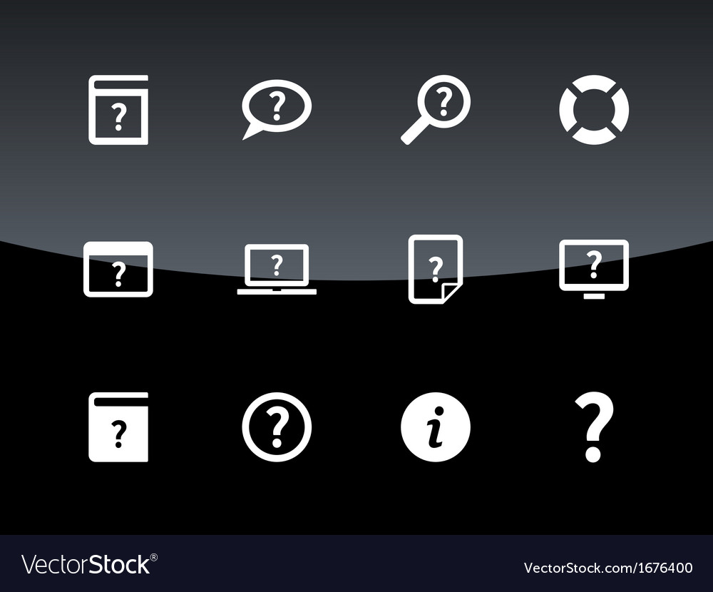 Help and faq icons on black background vector | Price: 1 Credit (USD $1)