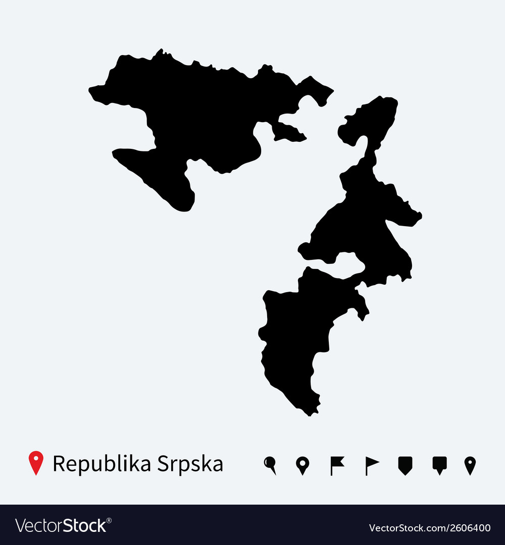High detailed map of republika srpska with pins vector | Price: 1 Credit (USD $1)