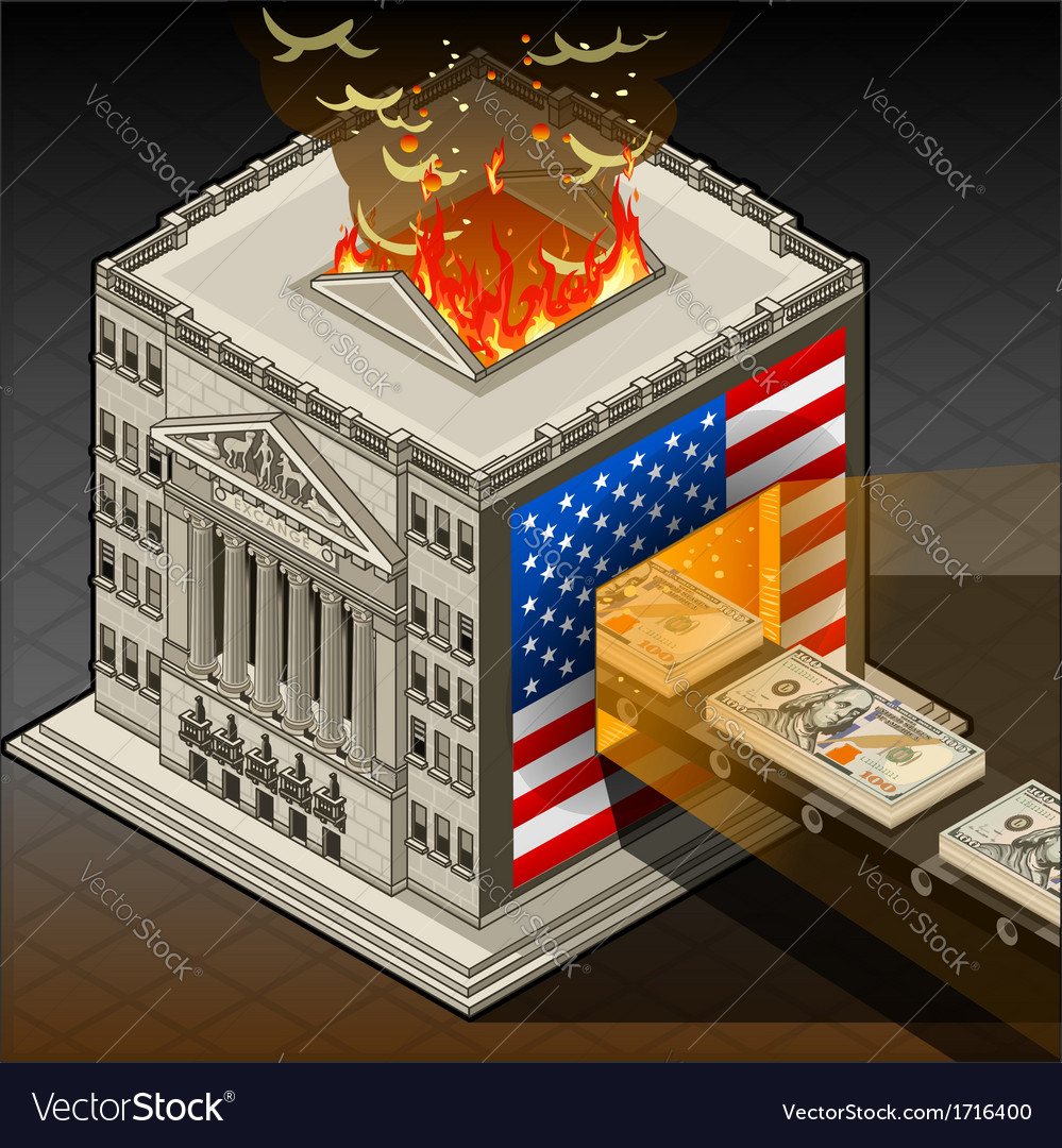Isometric stock exchange burning dollars vector | Price: 1 Credit (USD $1)