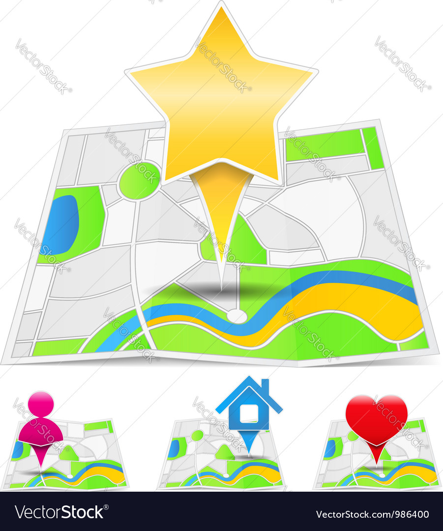 Maps with map markers vector   Price: 1 Credit (USD $1)