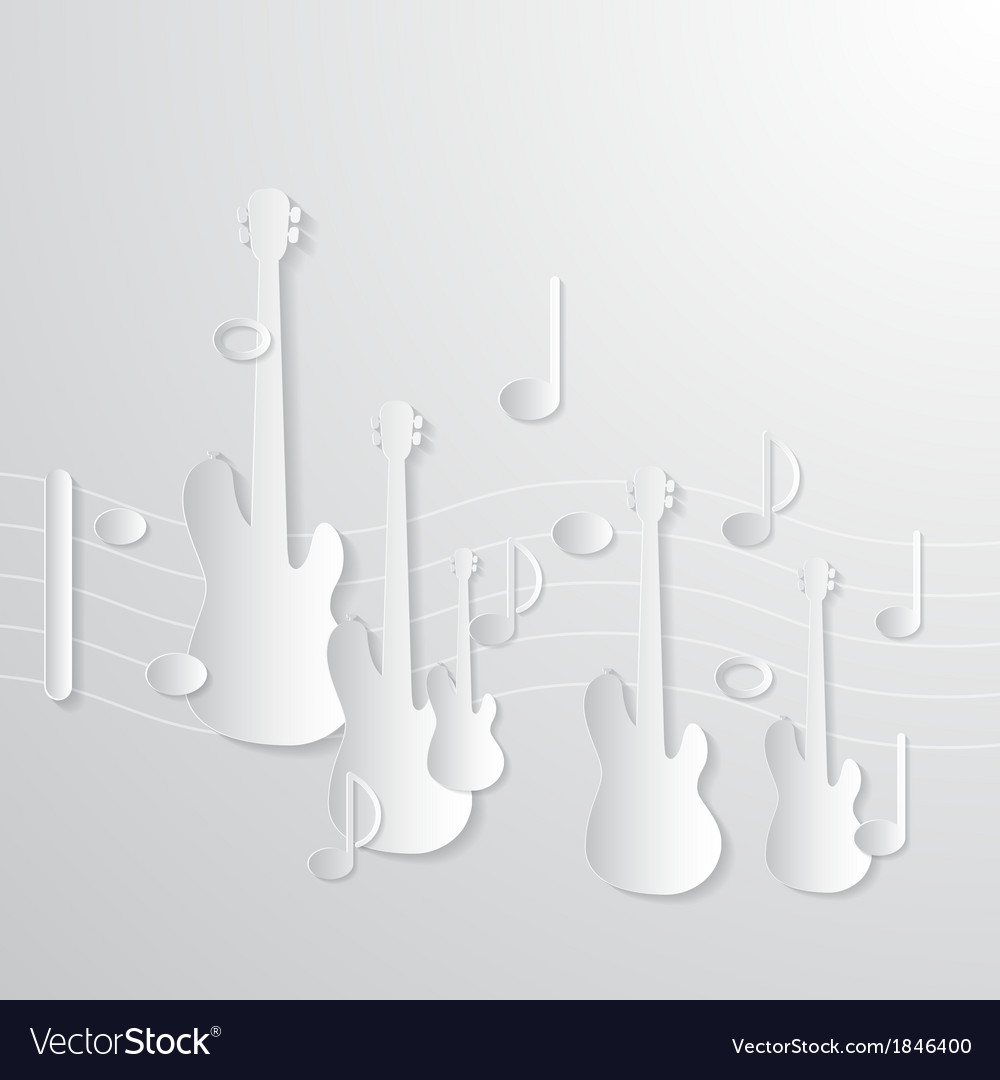 Music background guitars and notes made from paper vector   Price: 1 Credit (USD $1)