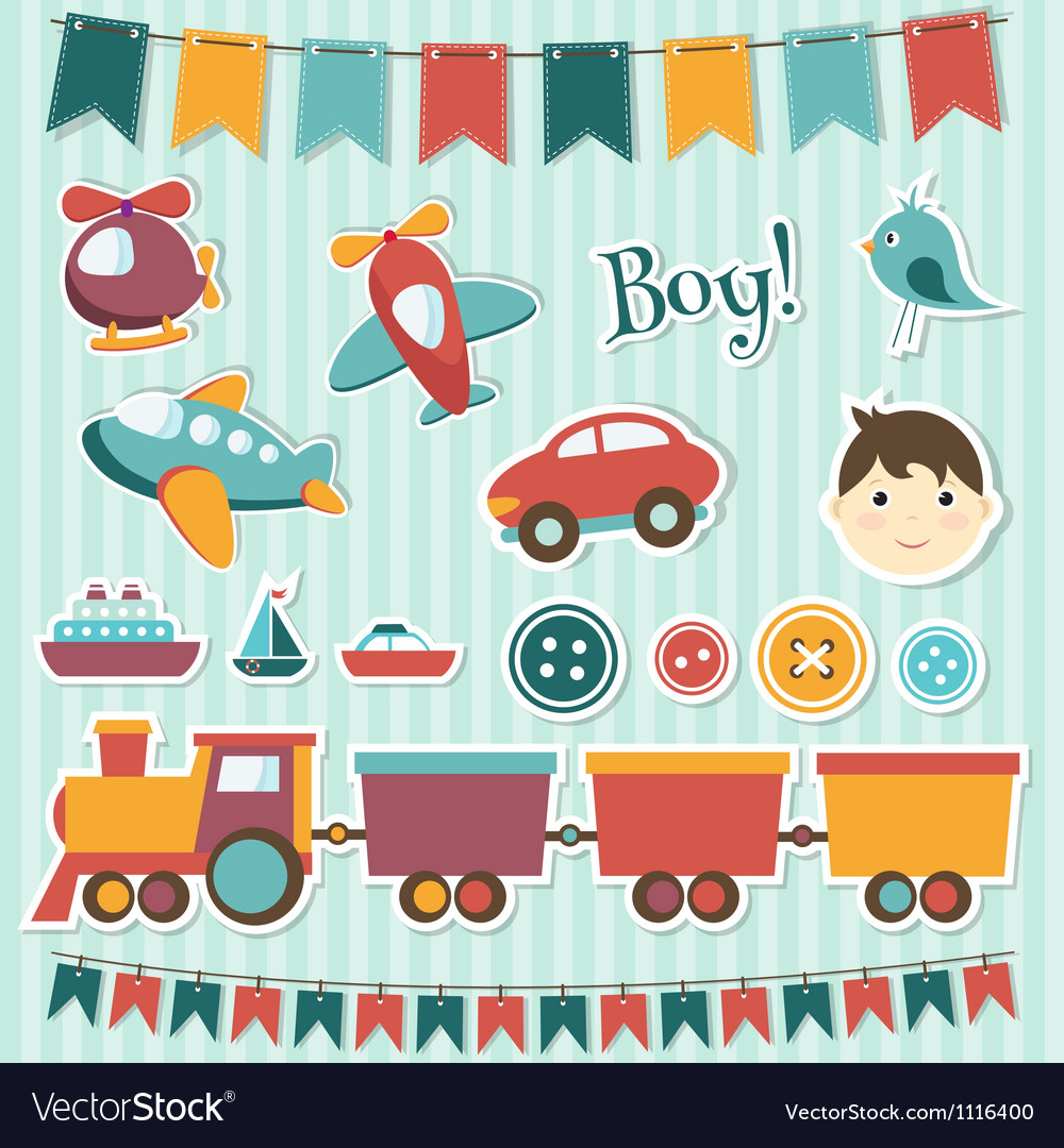 Scrapbook baby boy set vector | Price: 3 Credit (USD $3)