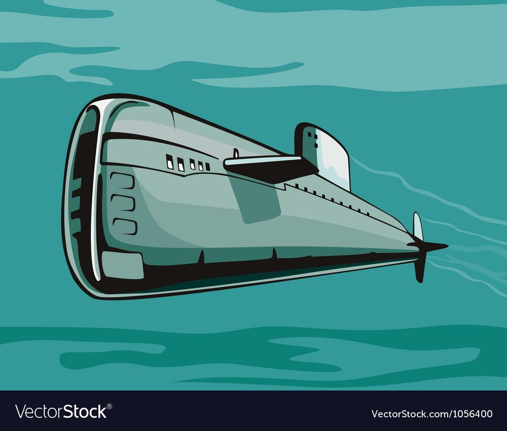 Submarine boat retro vector | Price: 1 Credit (USD $1)