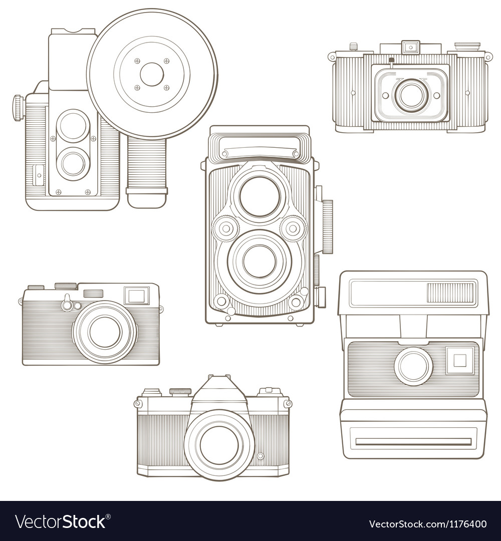 Vintage photo cameras set vector | Price: 1 Credit (USD $1)
