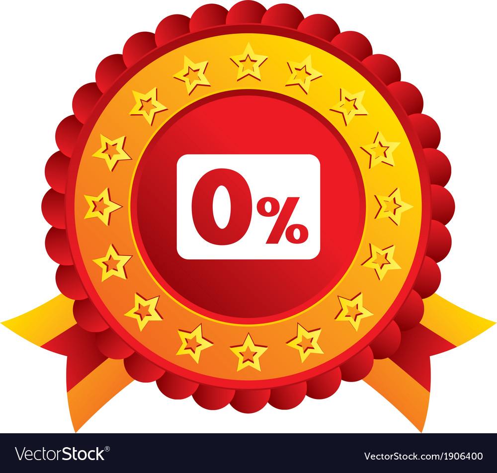 Zero percent sign icon zero credit symbol vector | Price: 1 Credit (USD $1)