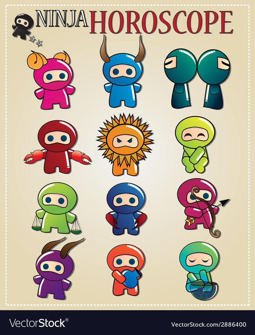 Zodiac signs with cute ninja characters vector | Price: 1 Credit (USD $1)