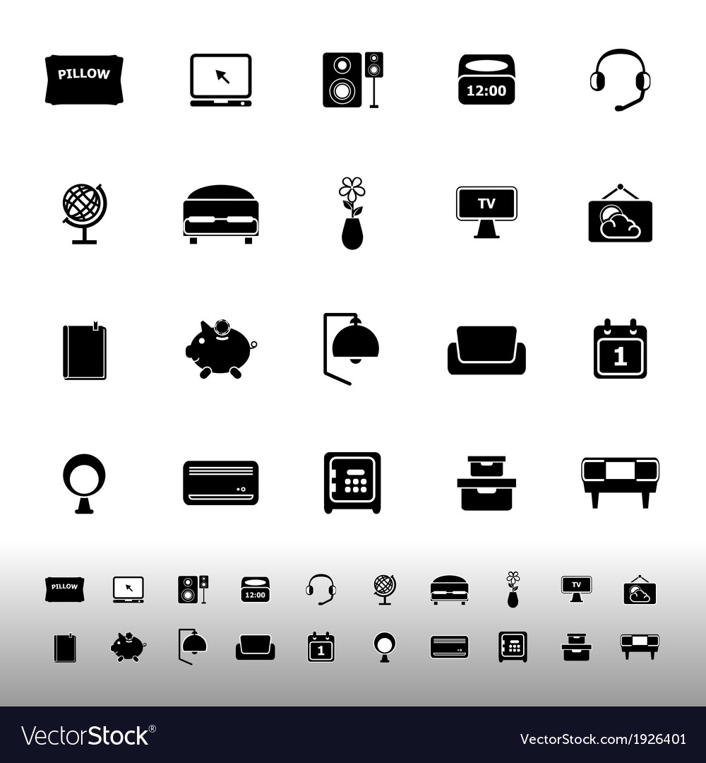 Bedroom icons on white background vector | Price: 1 Credit (USD $1)