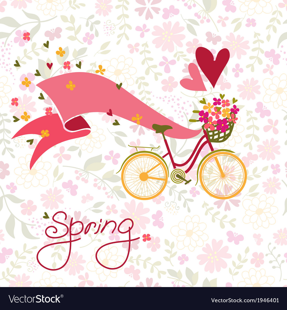 Bicycle with a basket full of flowers vector | Price: 1 Credit (USD $1)