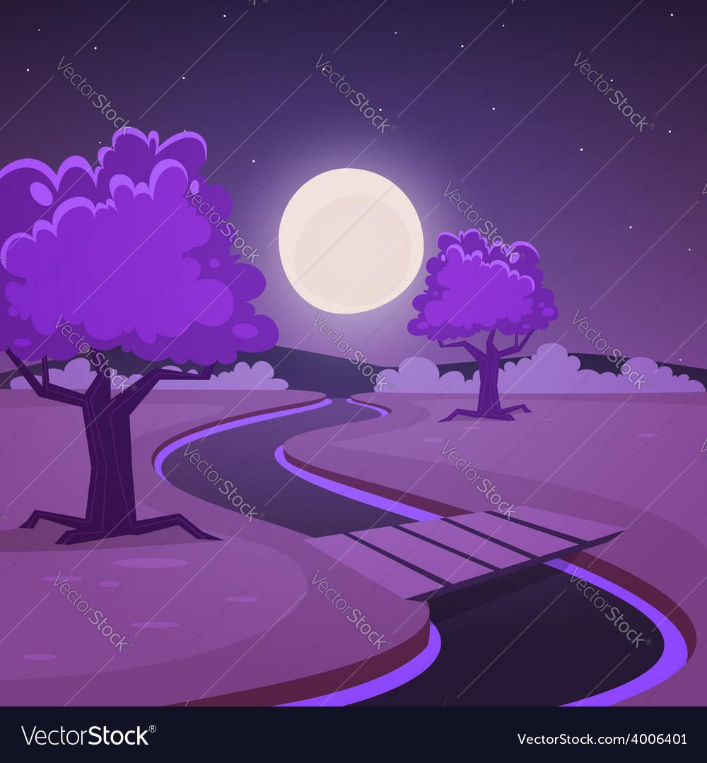 Cartoon night landscape vector | Price: 5 Credit (USD $5)