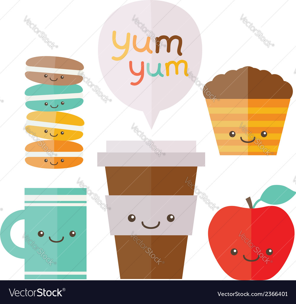 Coffee tea apple cupcake macaroon vector   Price: 1 Credit (USD $1)