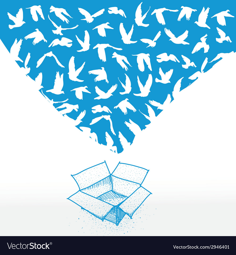 Doodle box sketch flying dove for peace concept vector | Price: 1 Credit (USD $1)