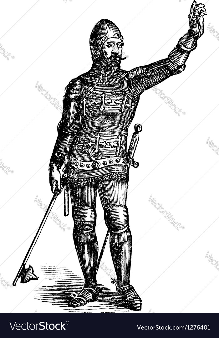 French soldier in armor in 1370 old engraving vector | Price: 1 Credit (USD $1)