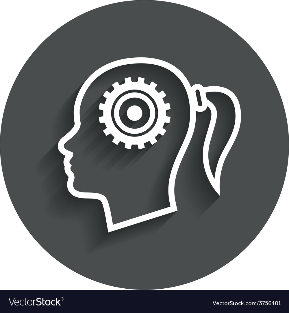 Head with gear sign icon female woman head vector | Price: 1 Credit (USD $1)