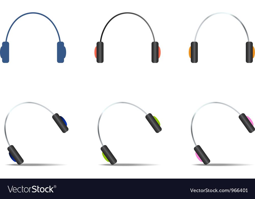 Headphones icons set vector | Price: 1 Credit (USD $1)