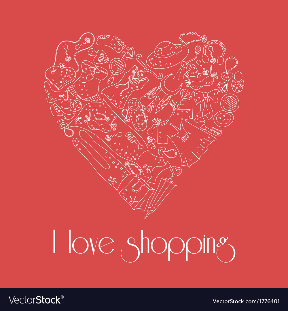 Heart from stylish hand drawn set of fashion items vector | Price: 1 Credit (USD $1)