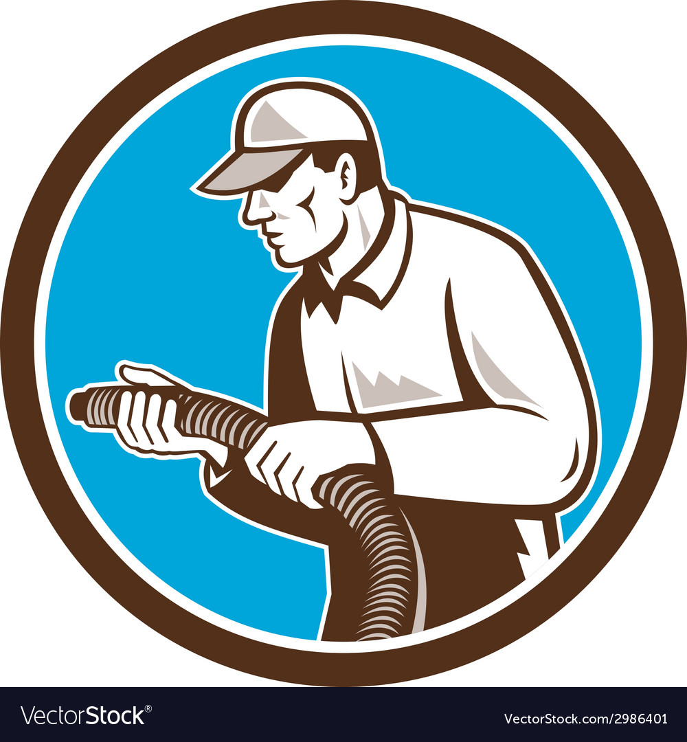 Home insulation technician retro circle vector | Price: 1 Credit (USD $1)