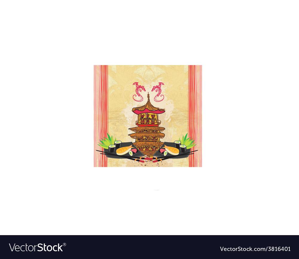 Japanese food menu - vintage paper vector   Price: 1 Credit (USD $1)