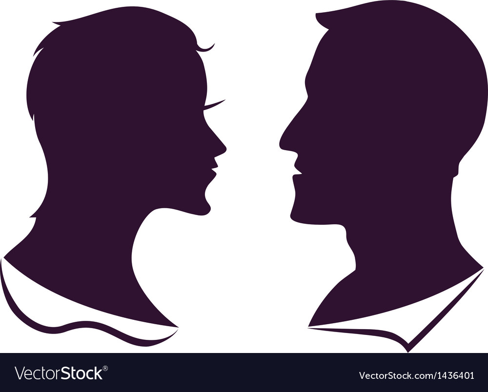 Man and female profile silhouette vector | Price: 1 Credit (USD $1)