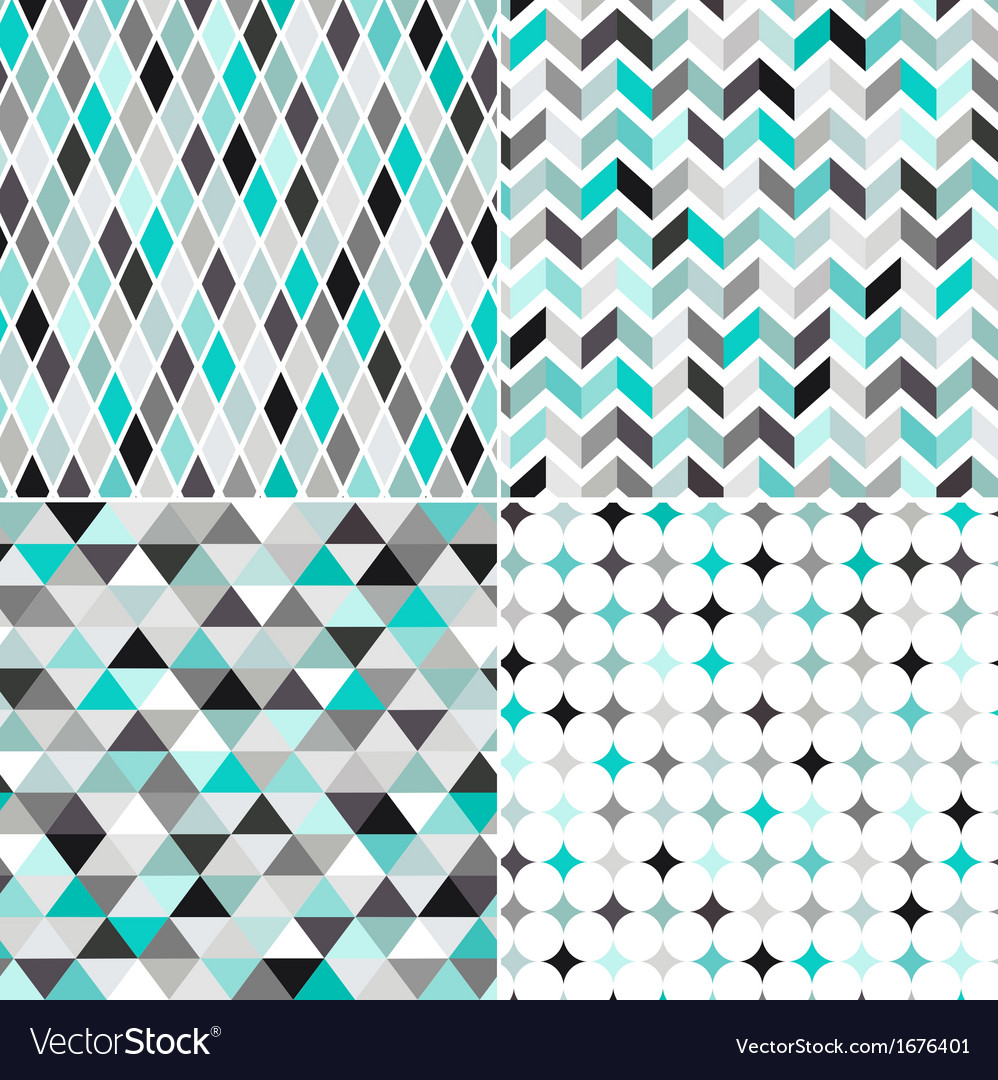 Seamless turquoise geometric pattern vector | Price: 1 Credit (USD $1)