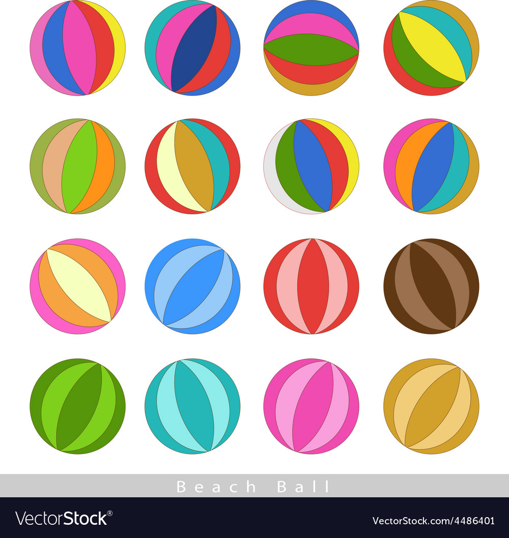 Set of beach balls on white background vector | Price: 1 Credit (USD $1)