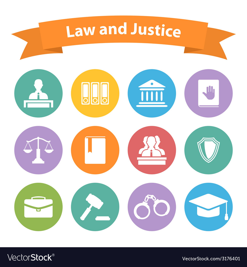 Set of flat law and justice icons vector | Price: 1 Credit (USD $1)