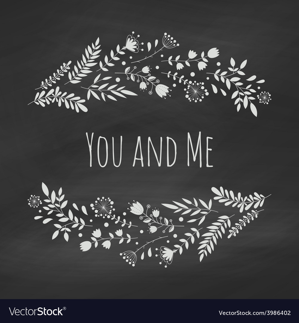 Chalk floral frame vector | Price: 1 Credit (USD $1)