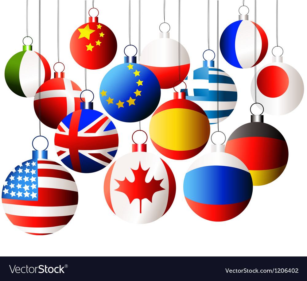 Christmas international balls vector | Price: 1 Credit (USD $1)