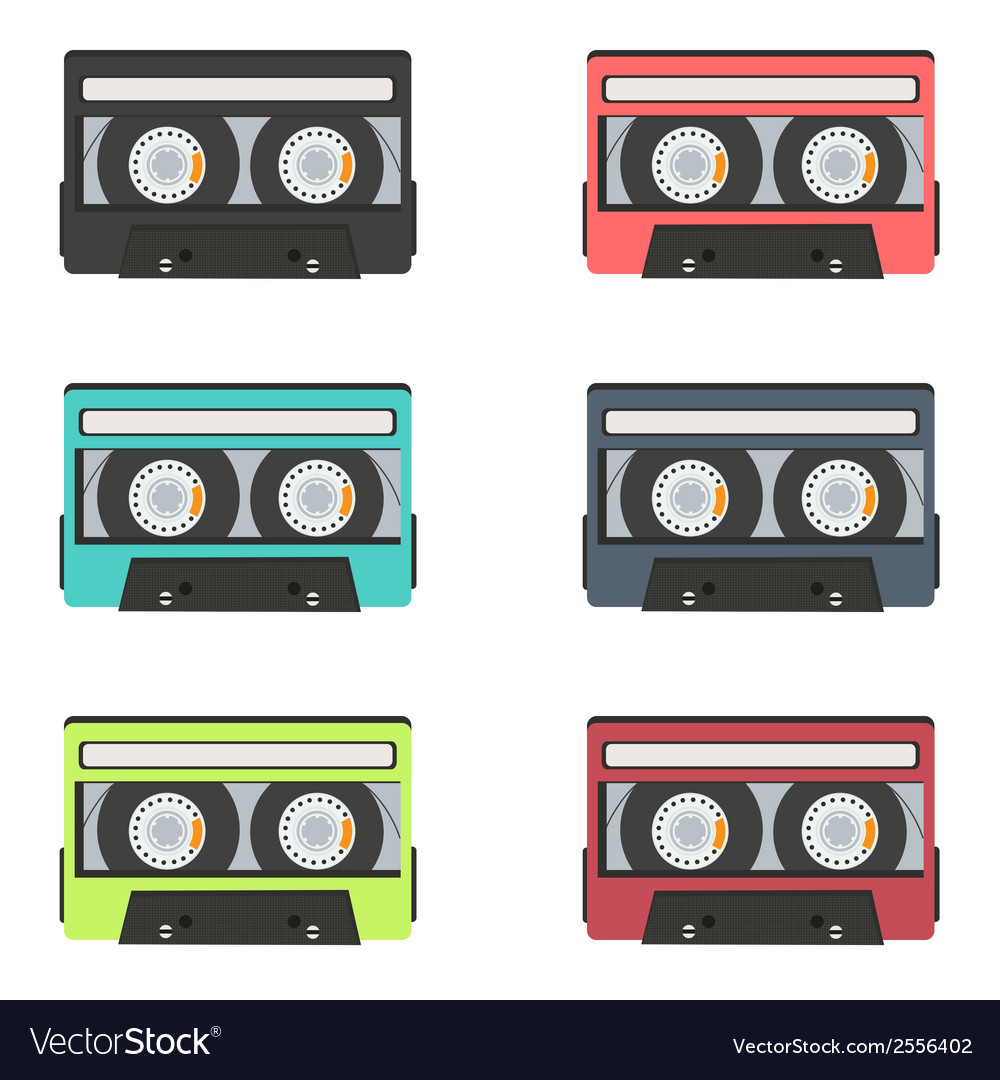 Collection of retro audio tapes isolated on white vector | Price: 1 Credit (USD $1)