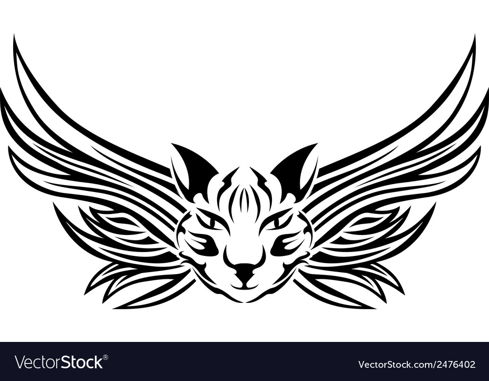 Head of cat with wings tattoo stencil vector | Price: 1 Credit (USD $1)