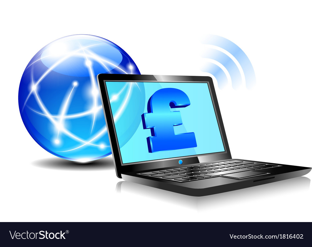 Internet laptop money pound pay online vector | Price: 1 Credit (USD $1)