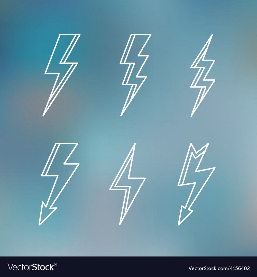 Lightning icon minimal linear contour outline vector | Price: 1 Credit (USD $1)
