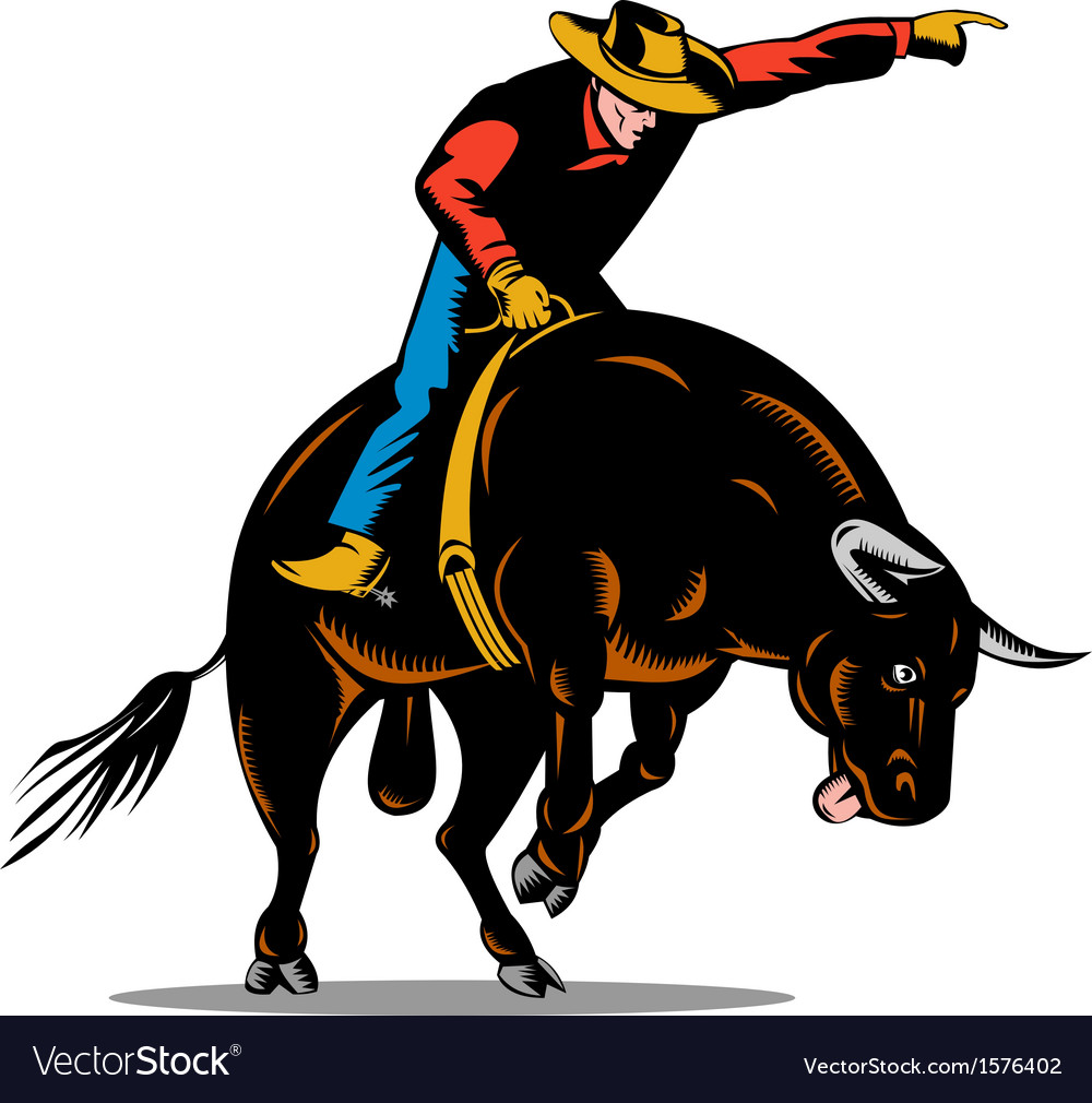 Rodeo cowboy bull riding retro vector | Price: 1 Credit (USD $1)