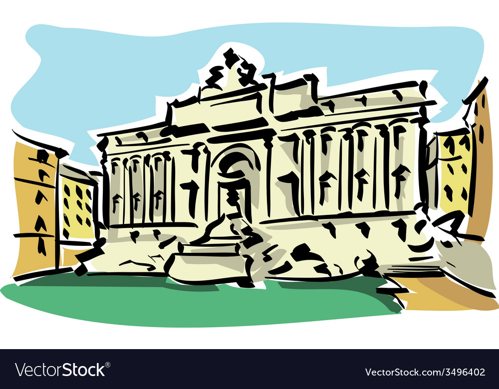 Rome trevi fountain vector | Price: 1 Credit (USD $1)