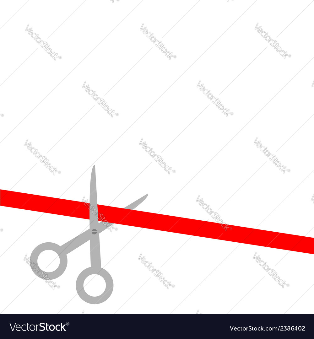 Scissors cut straight red ribbon on the left flat vector | Price: 1 Credit (USD $1)