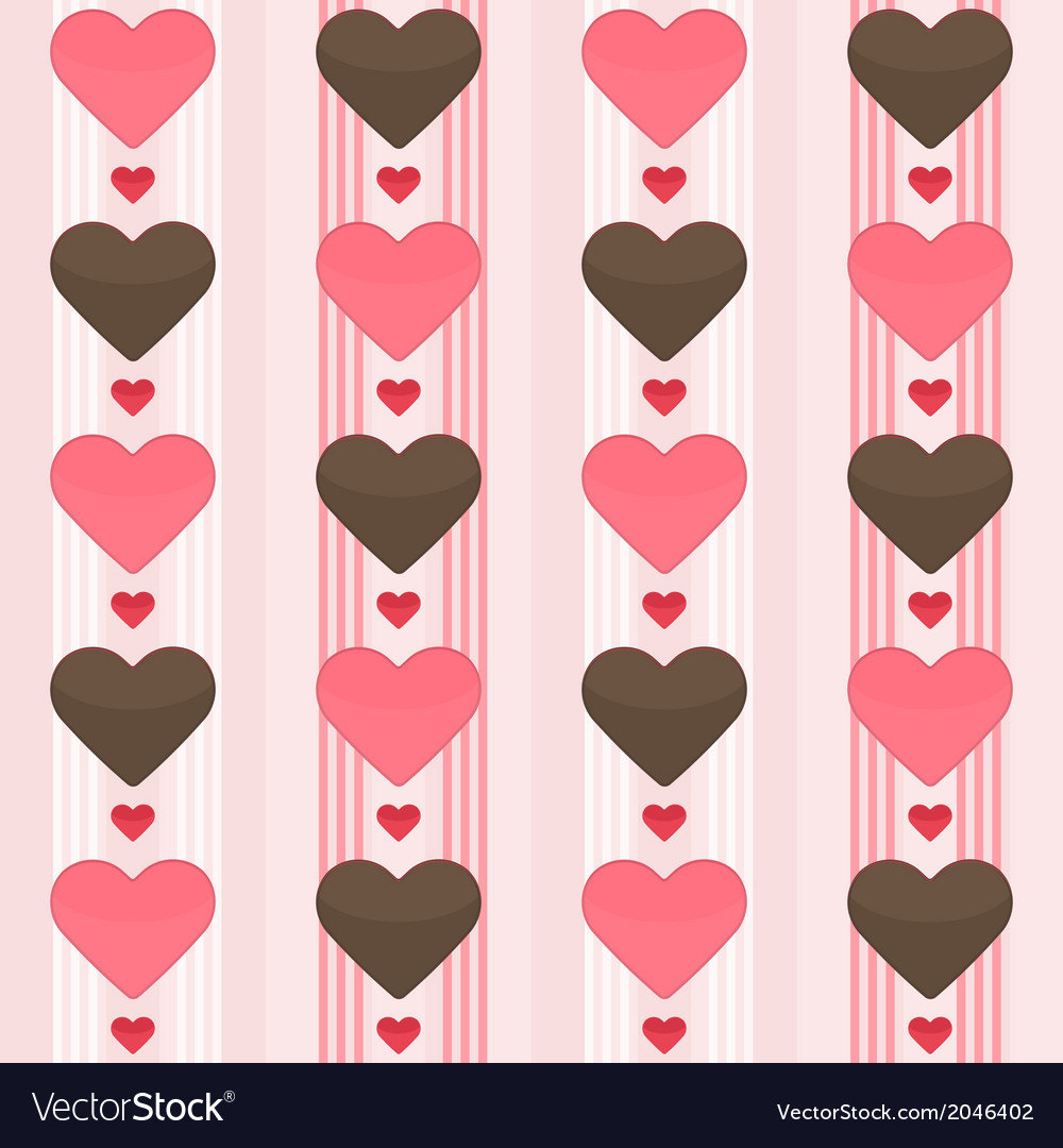 Seamless pattern with many brown and red hearts on vector | Price: 1 Credit (USD $1)