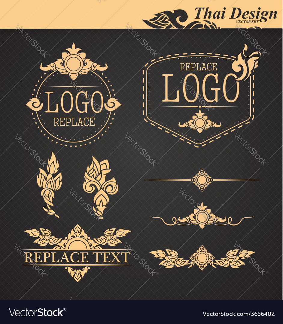 Set thai art design elements vector | Price: 1 Credit (USD $1)