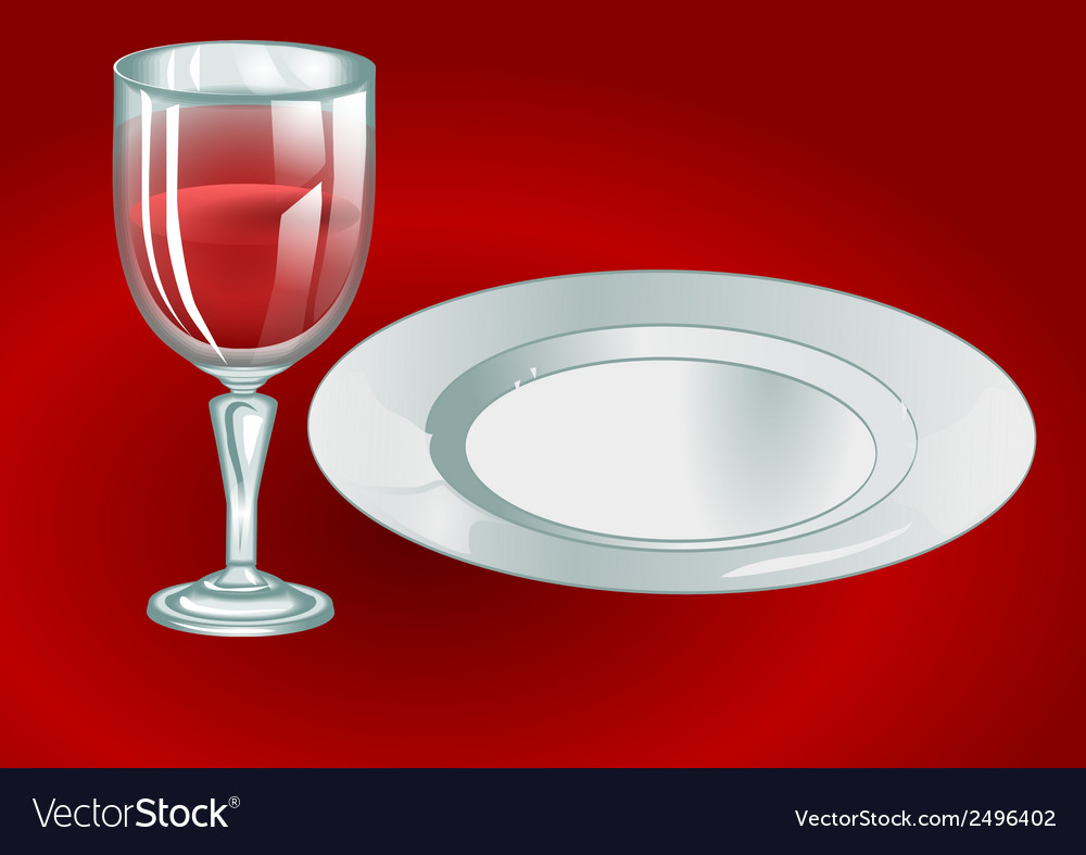 Wine glass with plate vector | Price: 1 Credit (USD $1)