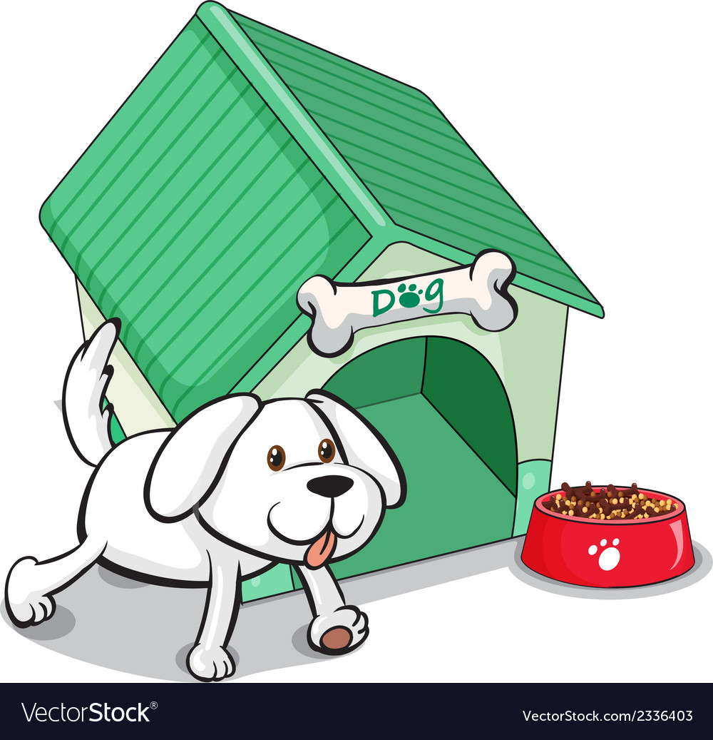 A cute pet outside the pethouse vector | Price: 1 Credit (USD $1)