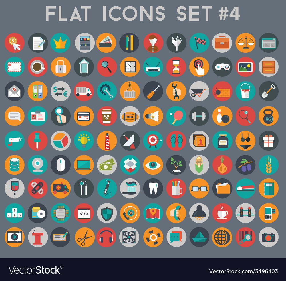 Big set of flat icons with modern colors vector | Price: 1 Credit (USD $1)