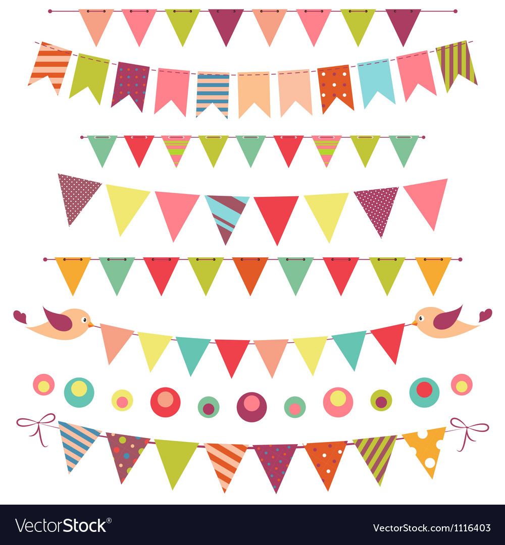 Bunting and garland set isolated on white vector | Price: 1 Credit (USD $1)