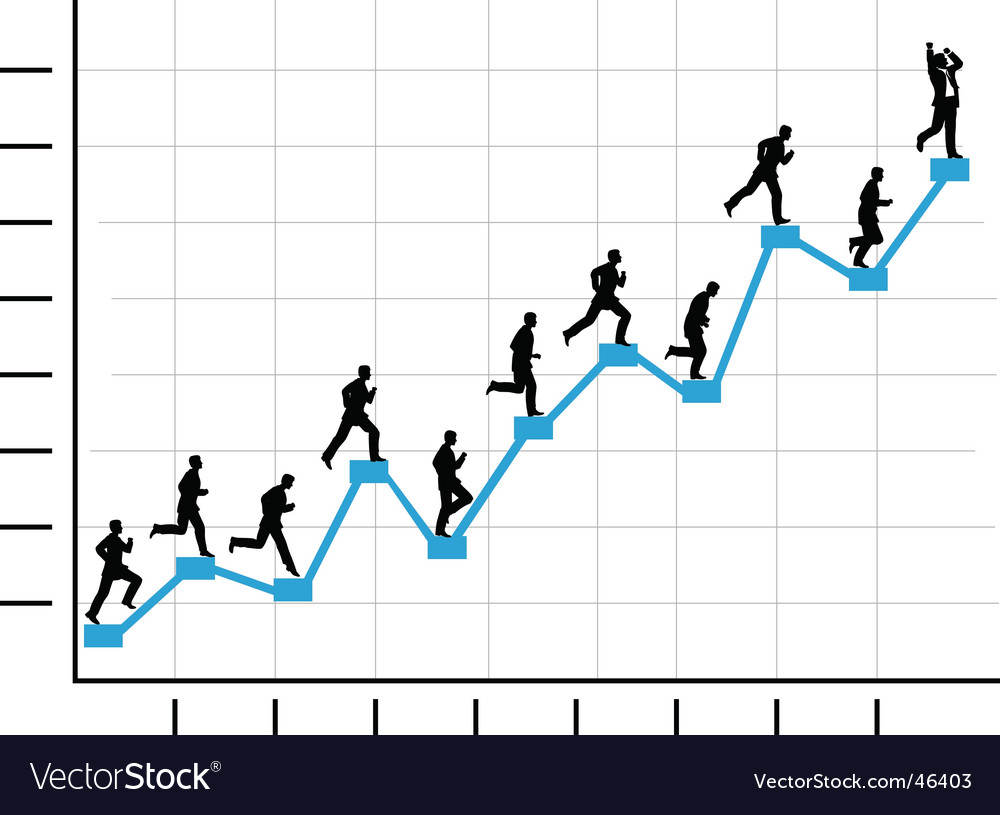 Businessman runs up graph vector | Price: 1 Credit (USD $1)