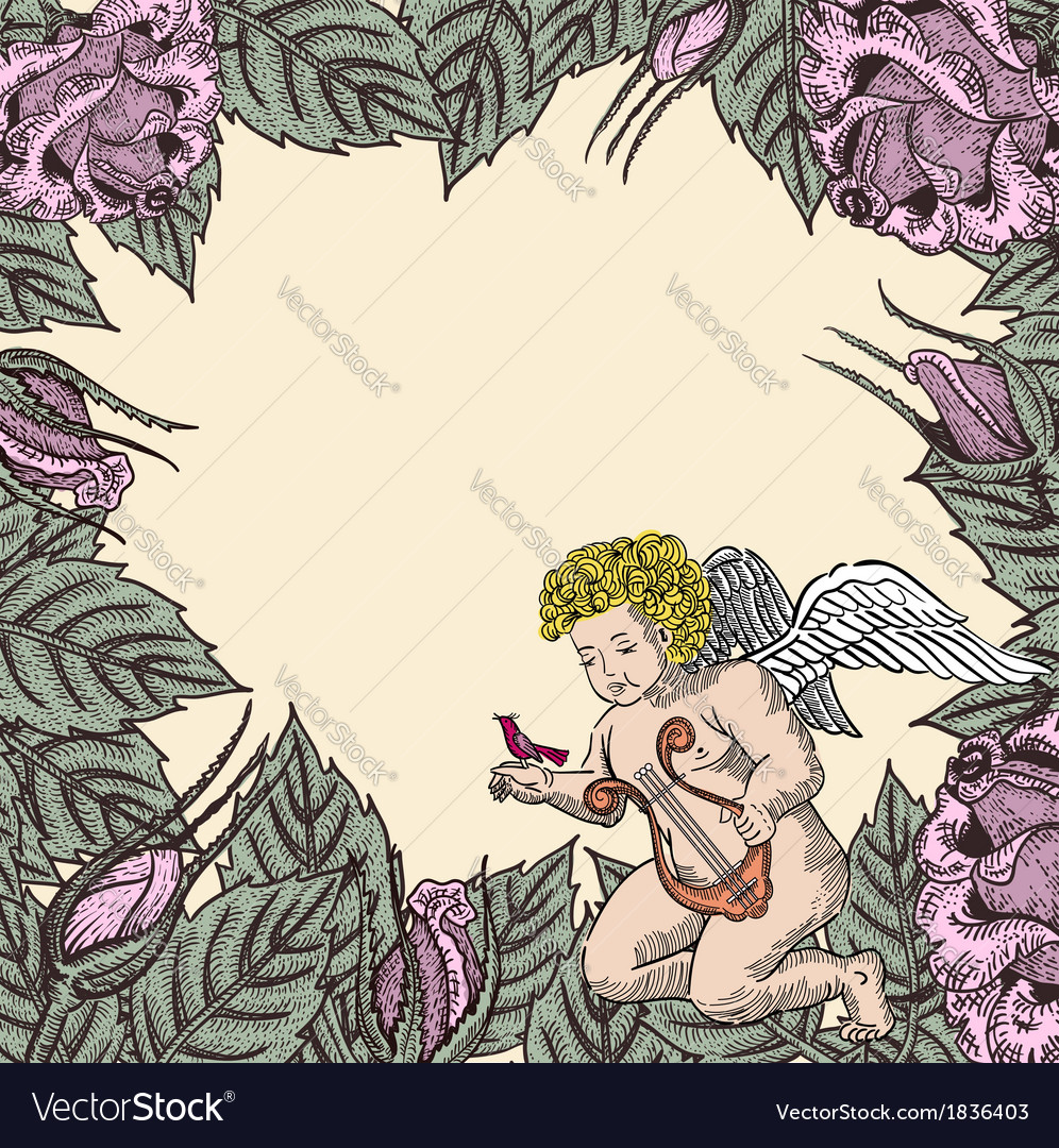 Cupid in roses vector | Price: 1 Credit (USD $1)