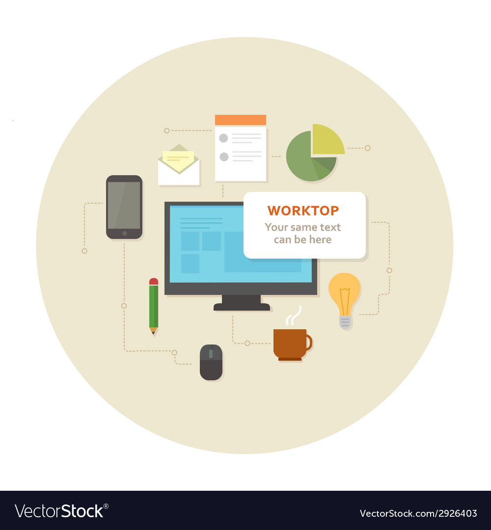 Flat design office work pictogram vector | Price: 1 Credit (USD $1)