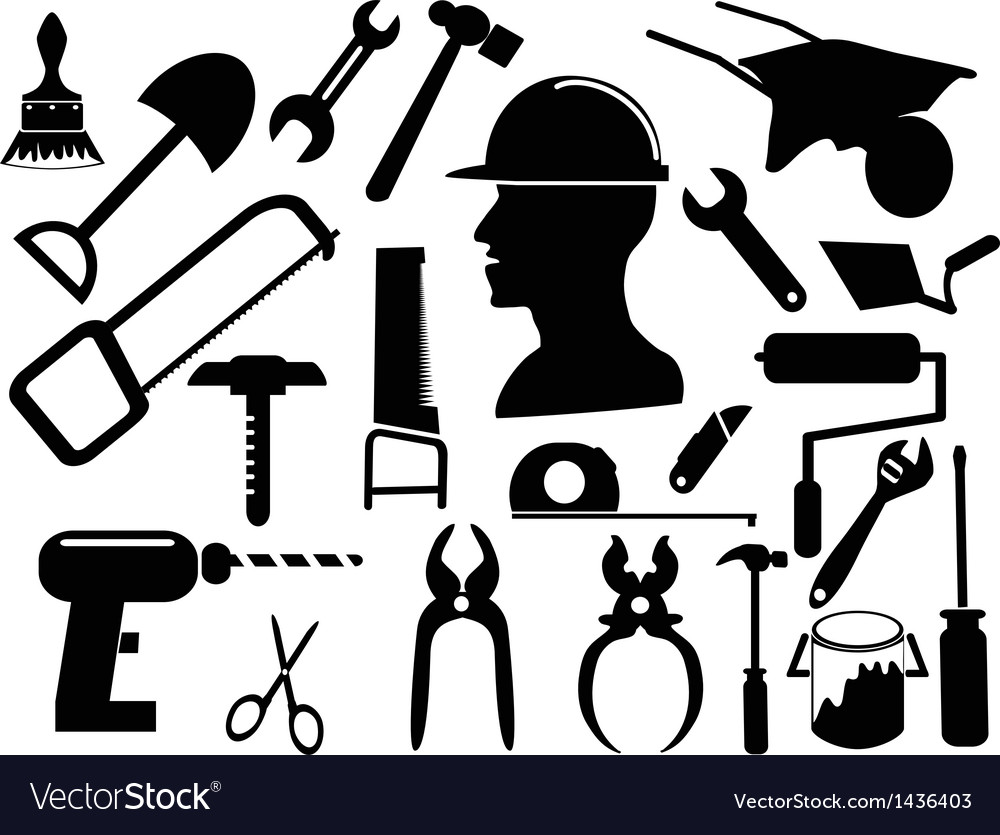 Hand tool silhouettes vector | Price: 1 Credit (USD $1)