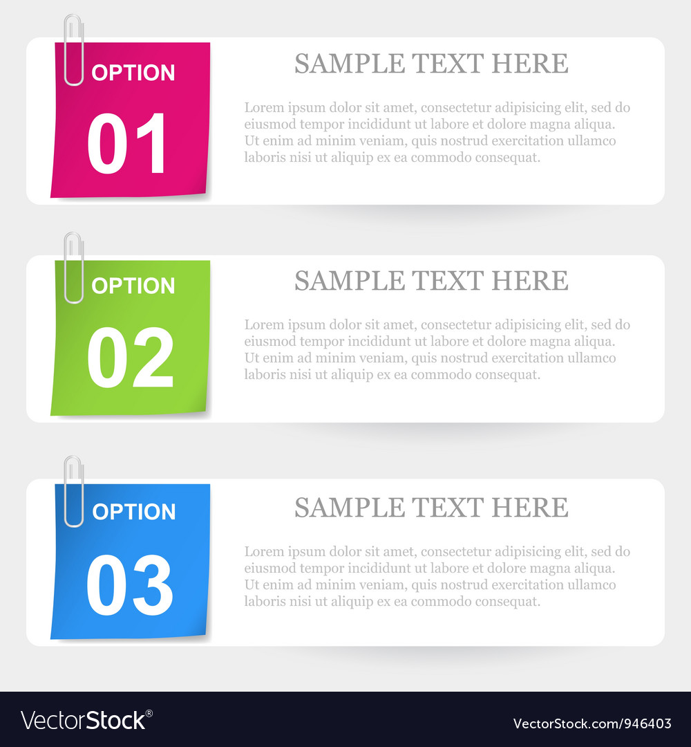 One two three - stapled note options vector | Price: 1 Credit (USD $1)