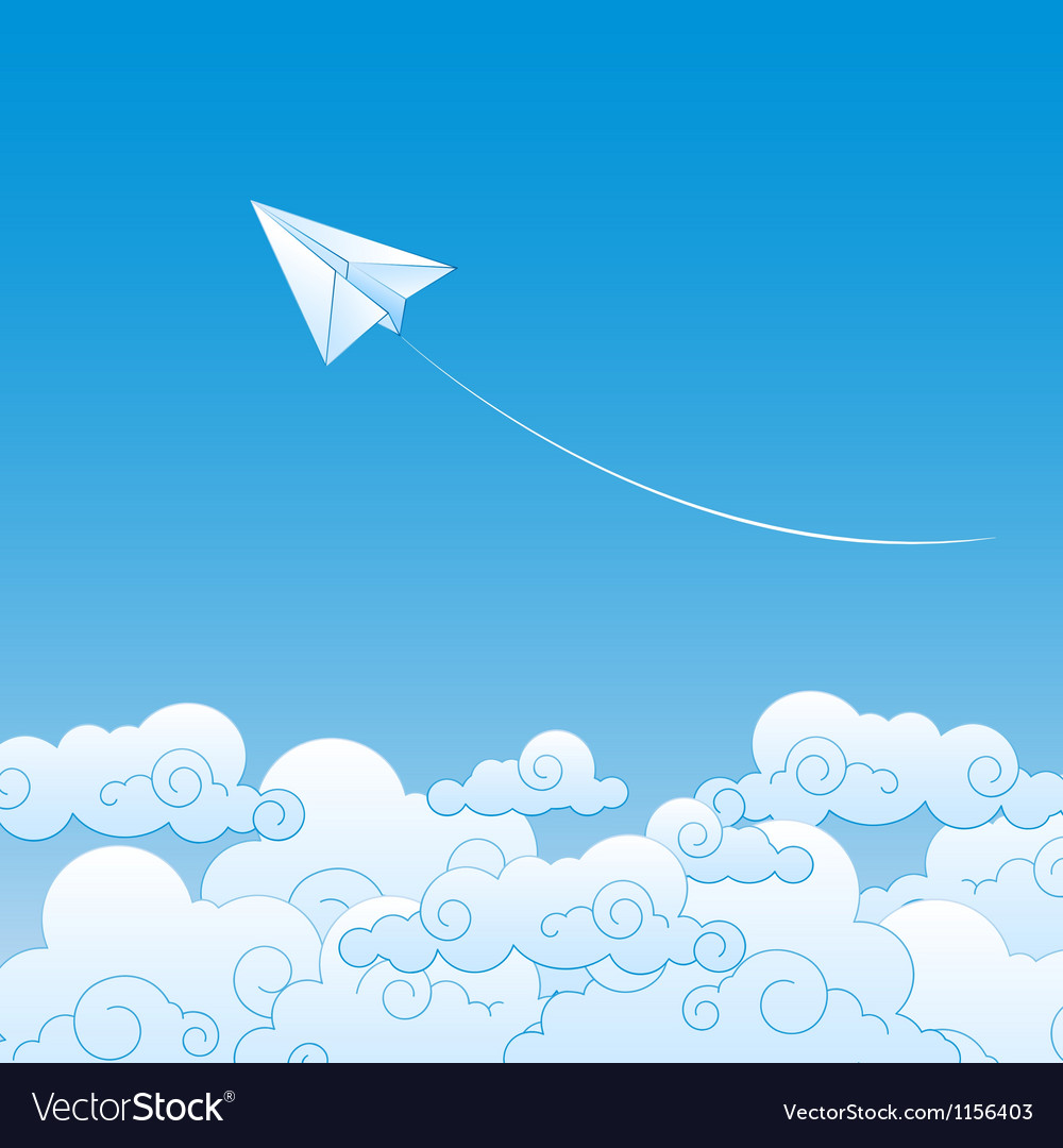 Paper plane against sky with clouds vector | Price: 1 Credit (USD $1)