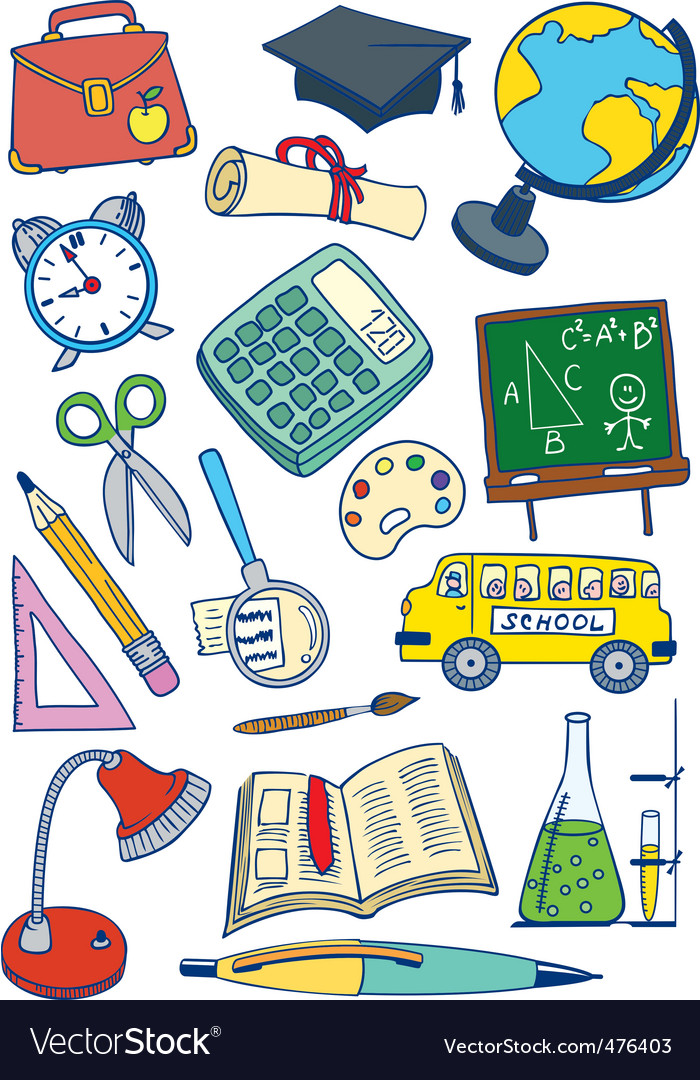 School set vector | Price: 1 Credit (USD $1)