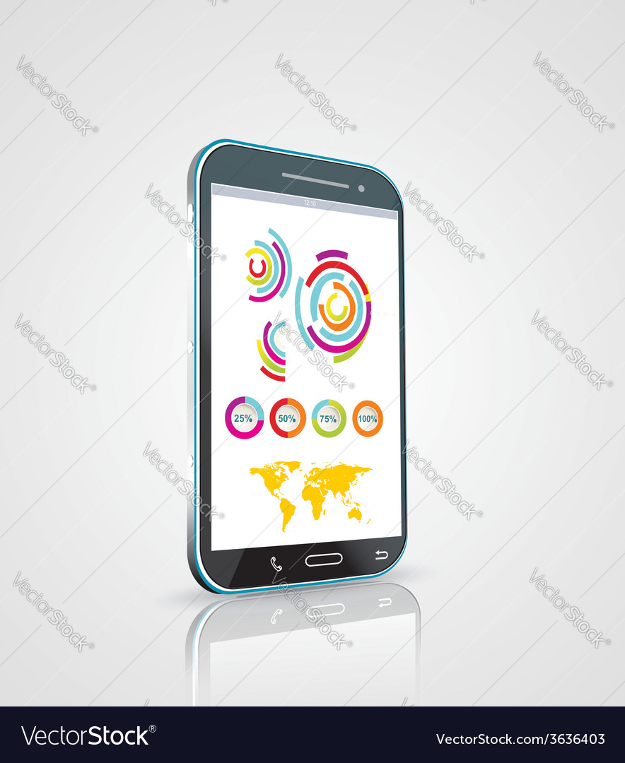 Touch screen smartphone with modern infographic vector | Price: 1 Credit (USD $1)